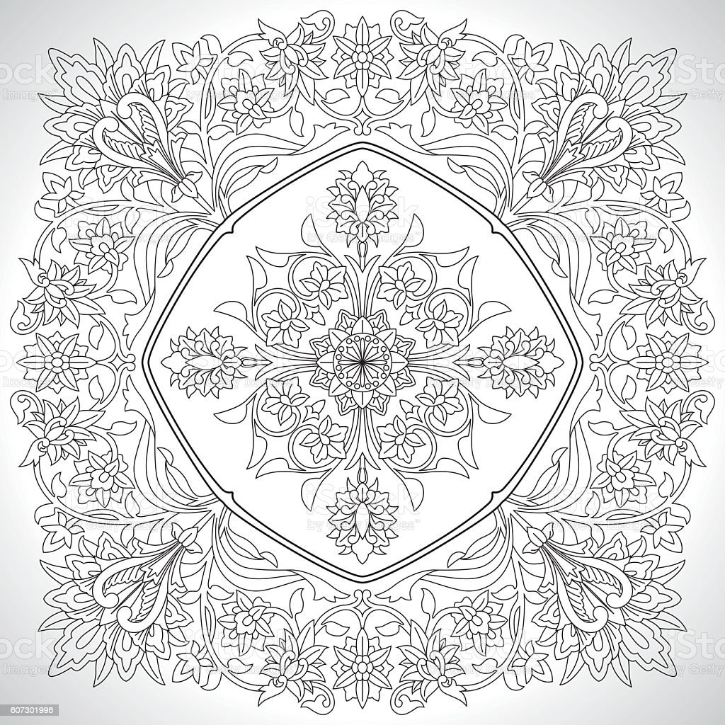 Clasical Ornate Embroidery Elements vector art illustration