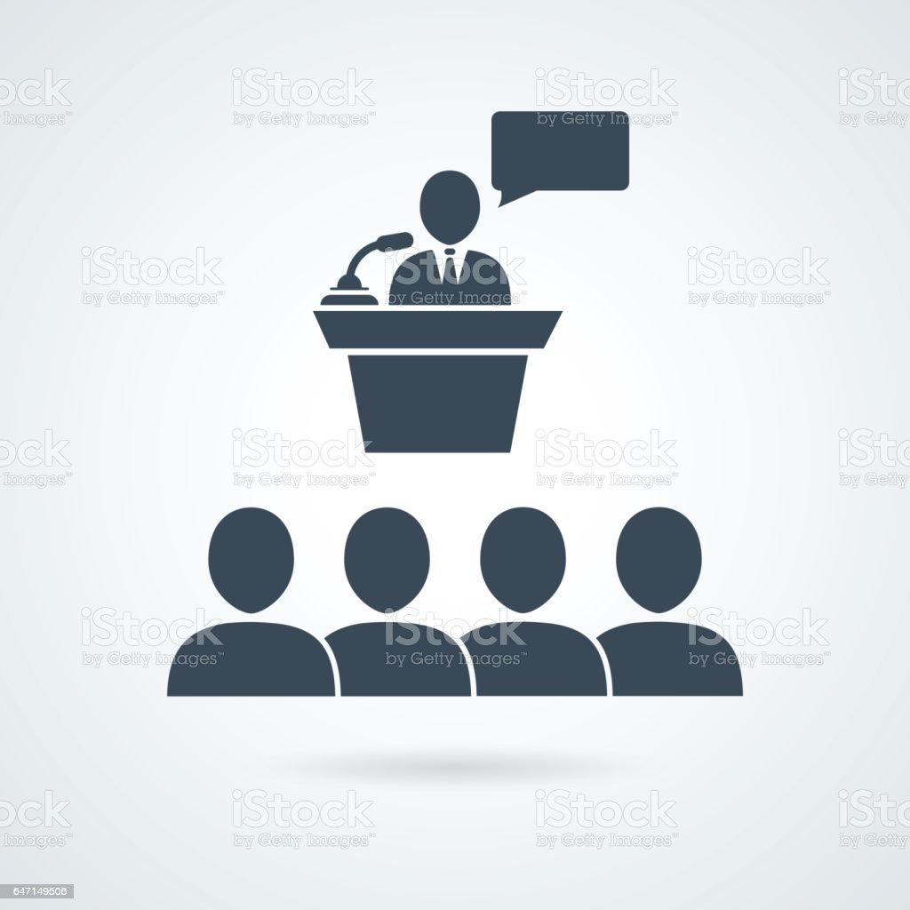 Class group of individuals drawn, lecturer icon vector art illustration