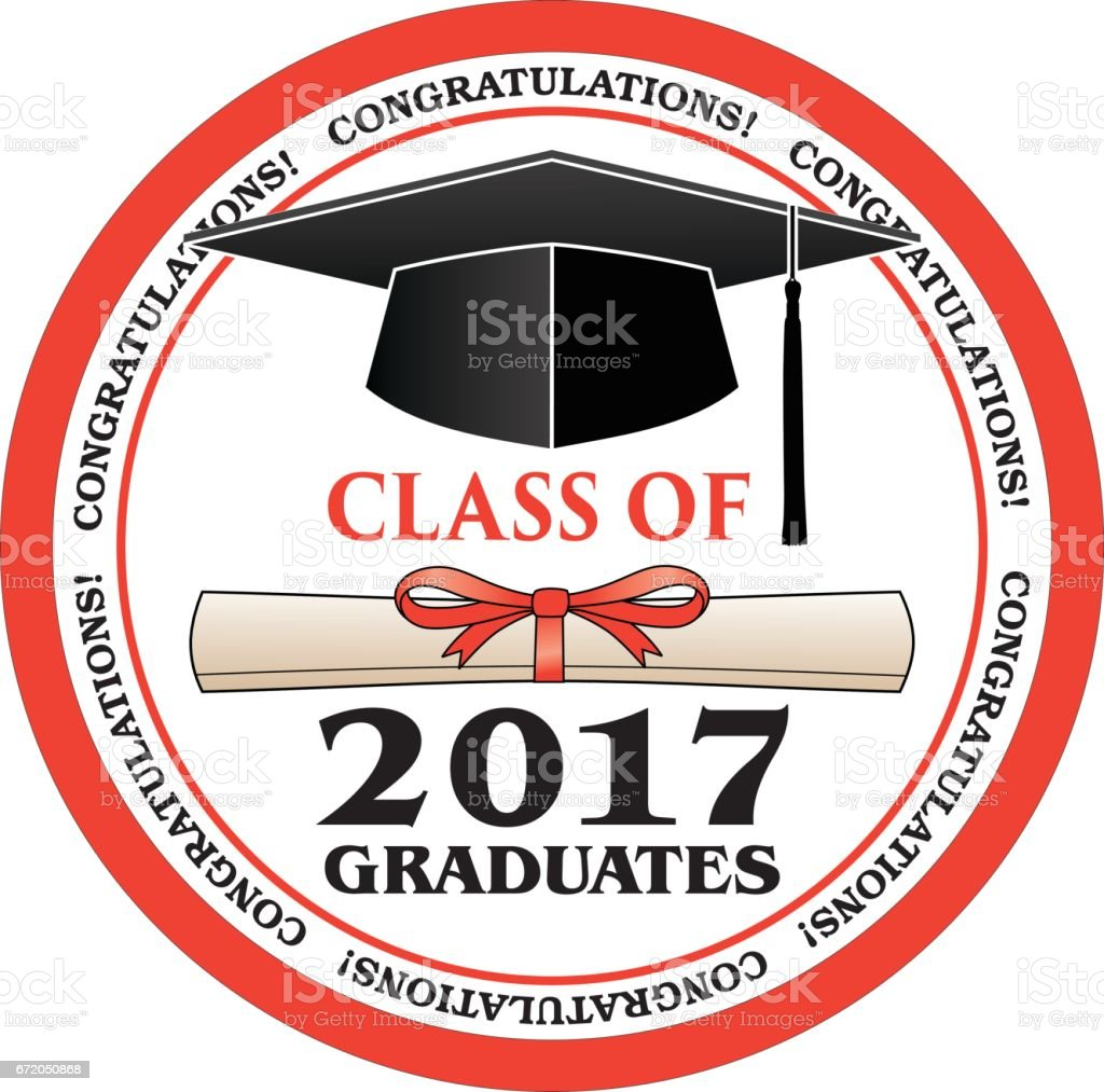 Class of 2017 Graduates vector art illustration