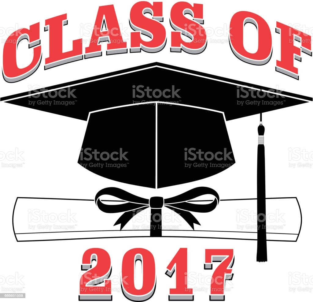 Class of 2017 - Graduation vector art illustration