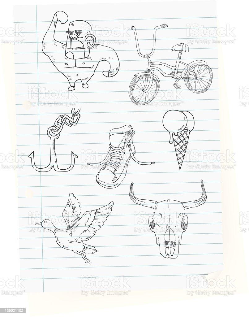 Anker bleistiftzeichnung  Class Zimmer Zeichnungenrandom Vektor Illustration 139501152 | iStock