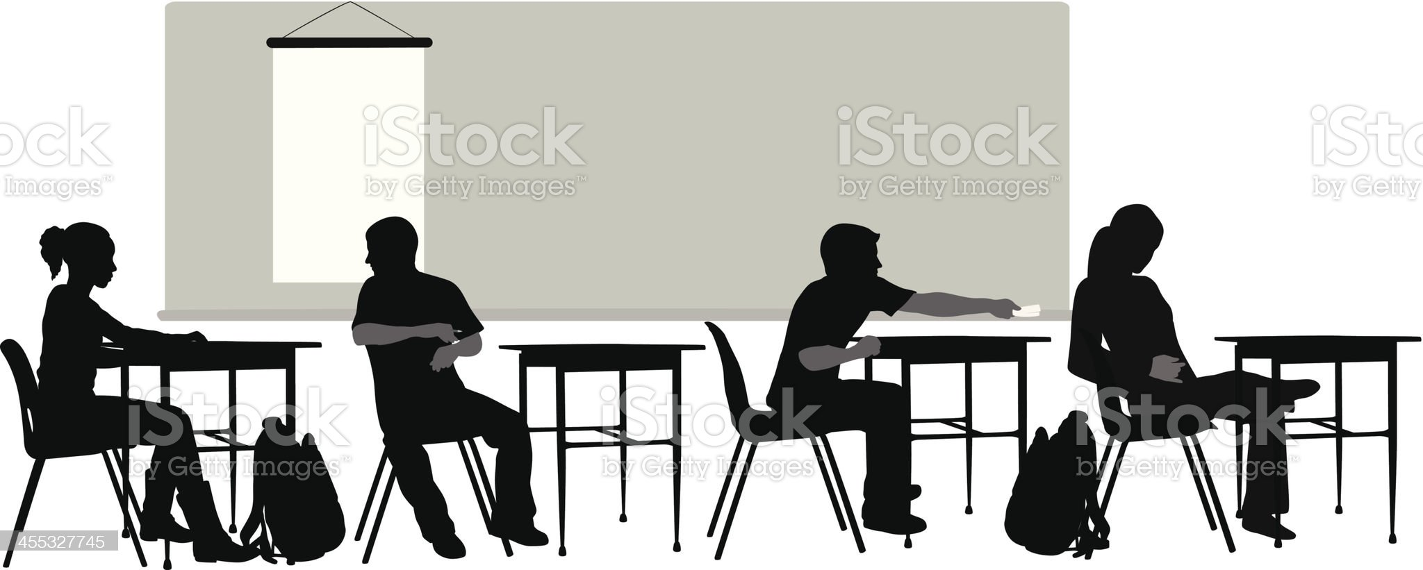 Class Time Vector Silhouette royalty-free stock vector art