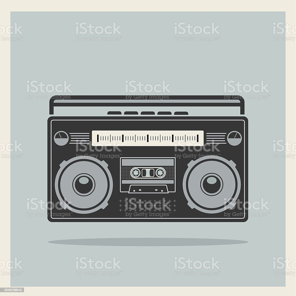 Classic 80s Boombox Cassette Player on Retro Background Vector vector art illustration
