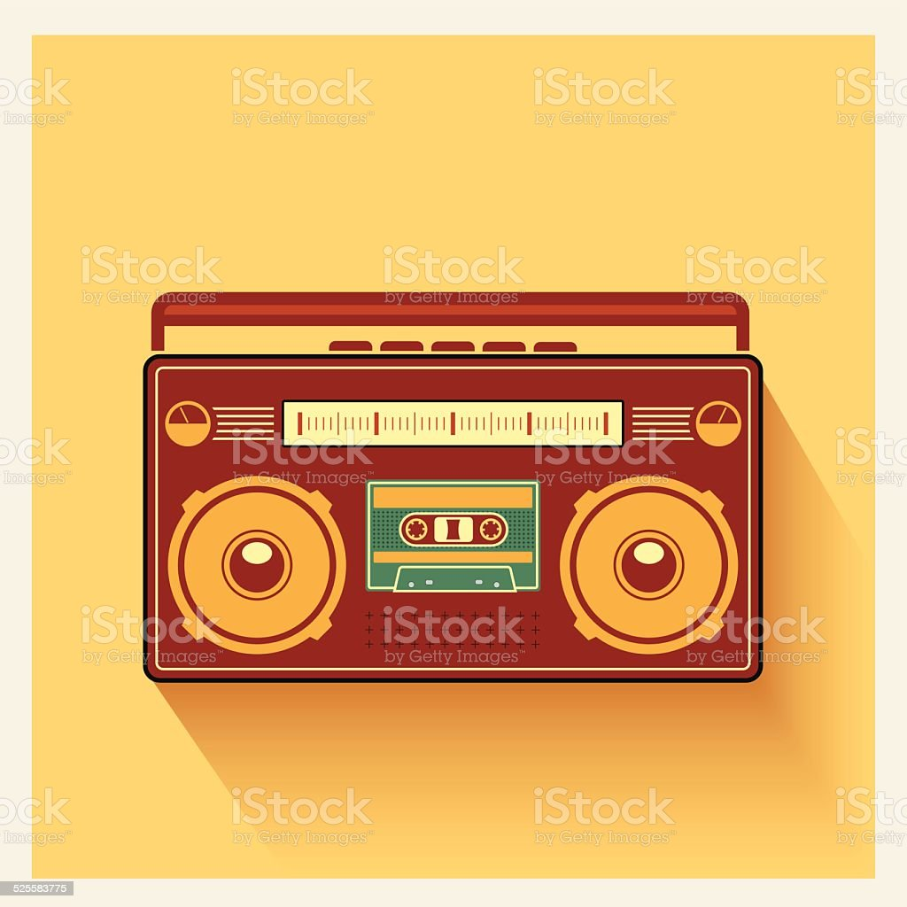 Classic 80s Boombox Portable Cassette Tape Player Vector vector art illustration