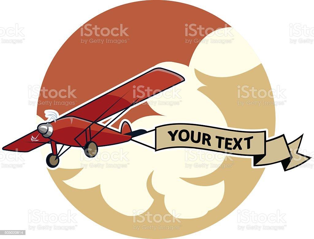 Classic Airplane2 Dragging Ribbon vector art illustration