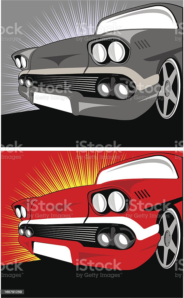 Classic american car two color versions royalty-free stock vector art