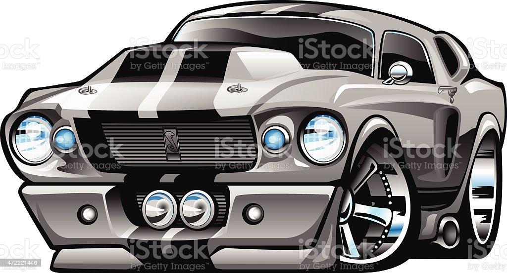 Classic American Muscle Car Cartoon Illustration vector art illustration