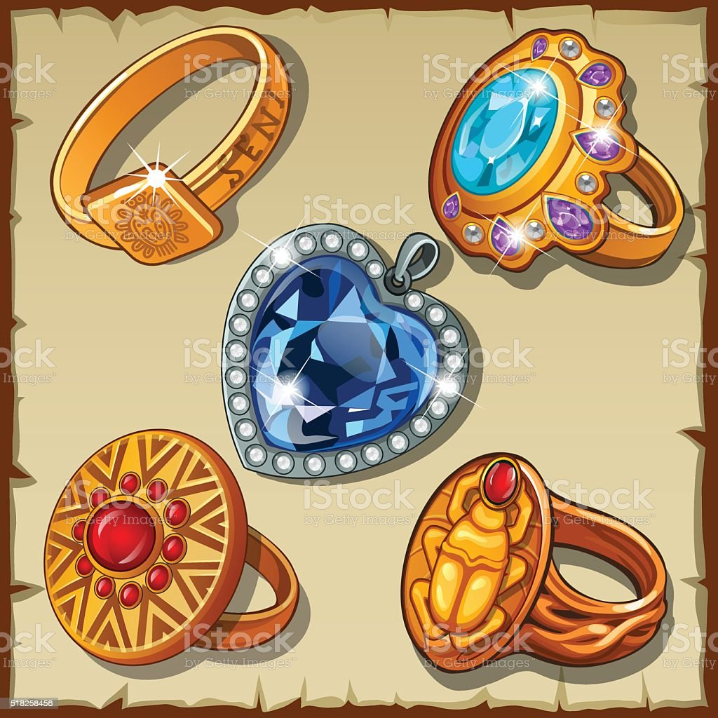 Classic and antique rings with symbols vector art illustration