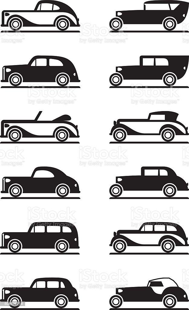Classic and retro cars vector art illustration