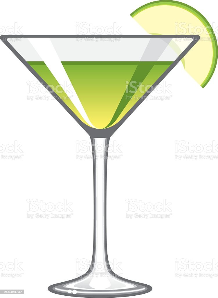 Classic Apple Martini Glass Icon vector art illustration