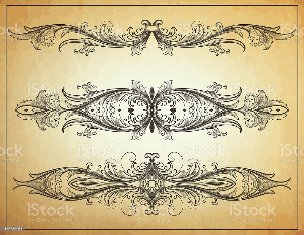 Classic Arabesque scrollwork Dividers royalty-free stock vector art