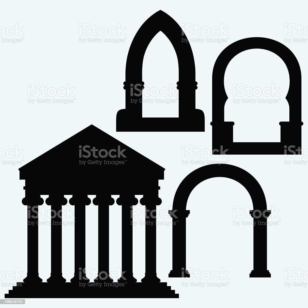 Classic arch and Portico an ancient temple vector art illustration