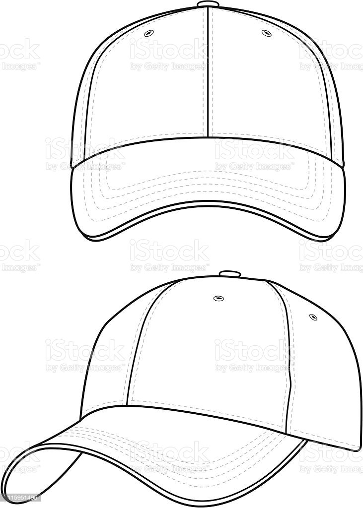 Classic Baseball Cap (2 Views) vector art illustration