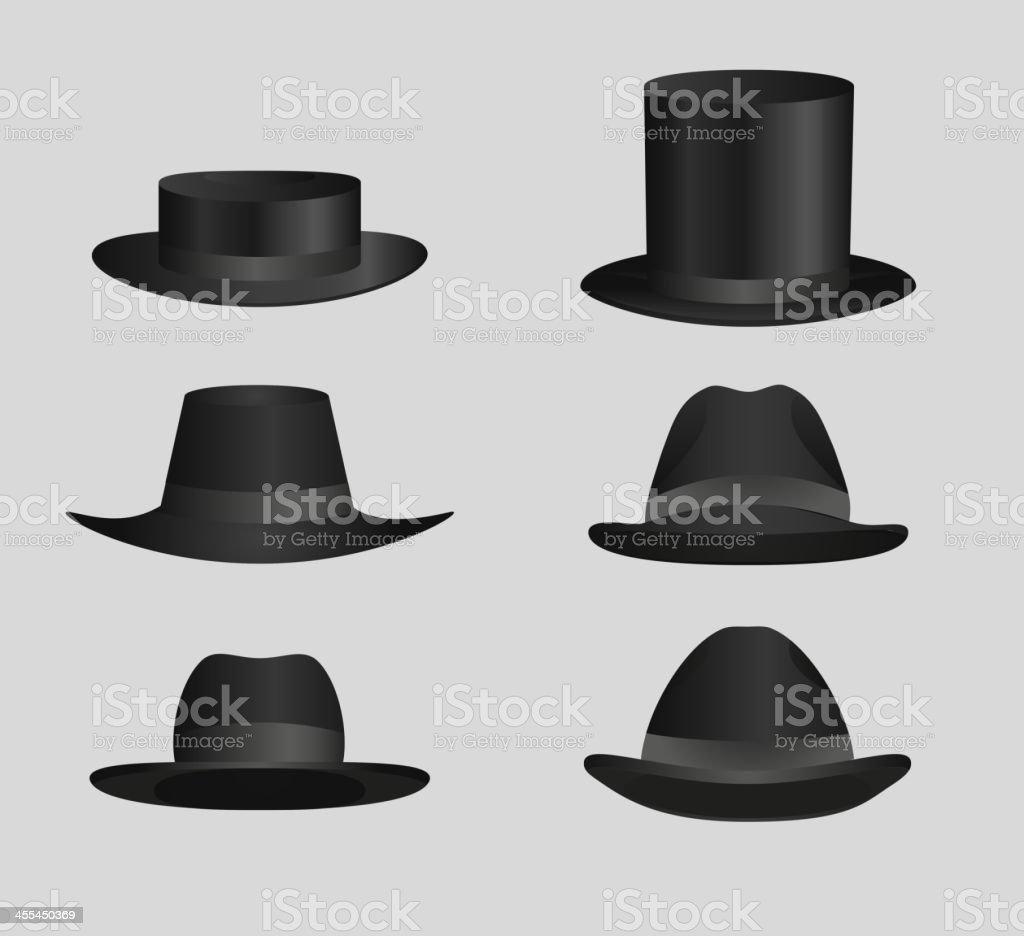 Classic Black top hat Derby Hats and caps vector art illustration