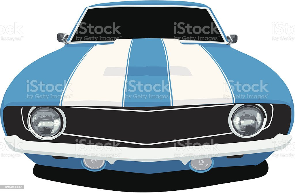 Classic Blue Camaro SS - Front View vector art illustration
