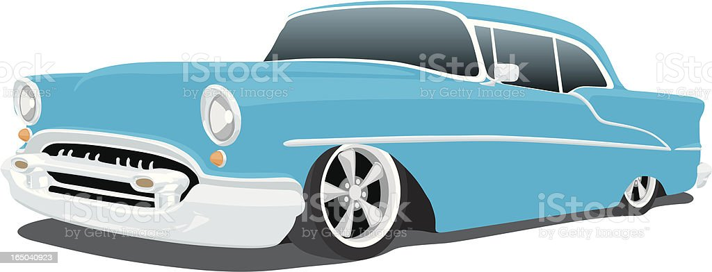 Classic blue Chevy animation on a white backdrop vector art illustration