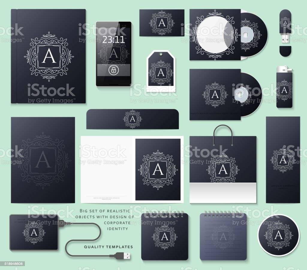Classic branding. Business corporate style in black color. vector art illustration