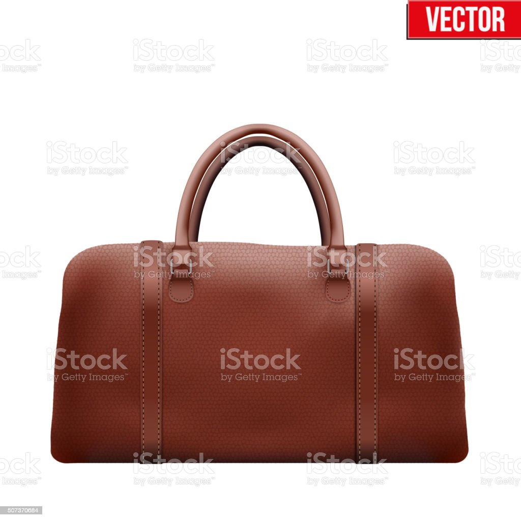 Classic Brown Leather Bag vector art illustration
