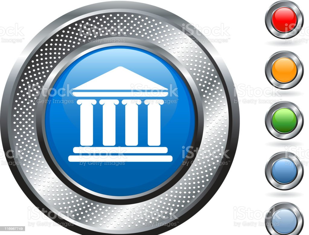 classic building facade royalty free vector art on metallic button royalty-free stock vector art