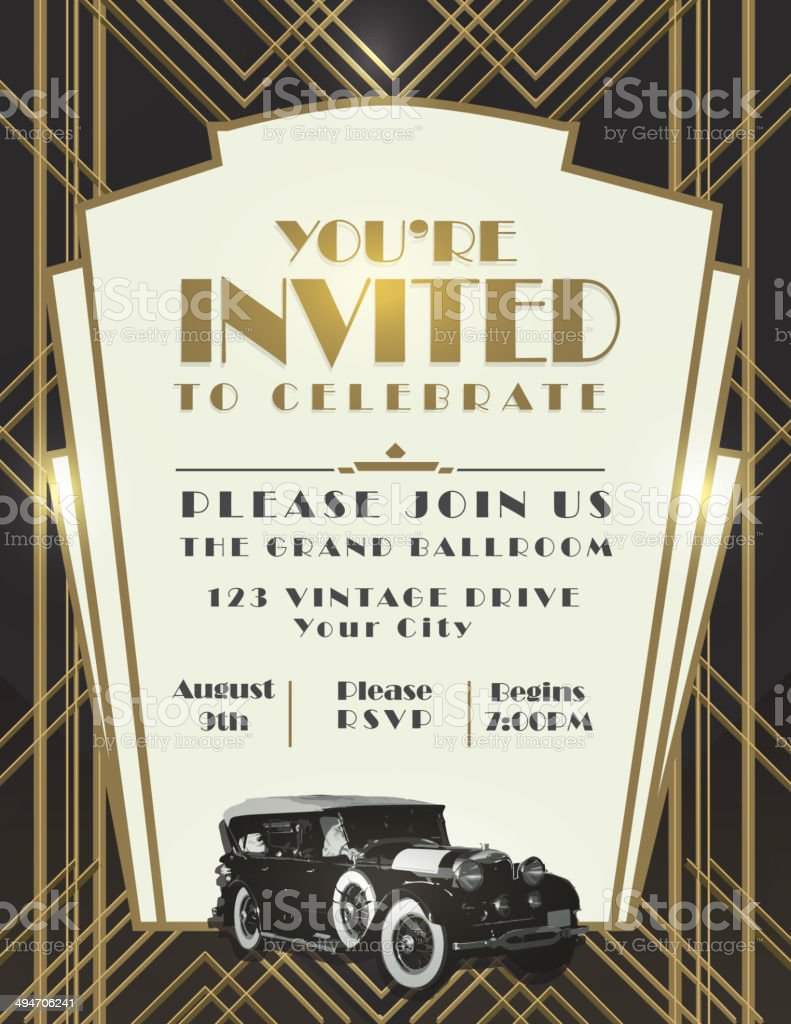 Classic car and Art Deco style vintage invitation design template vector art illustration