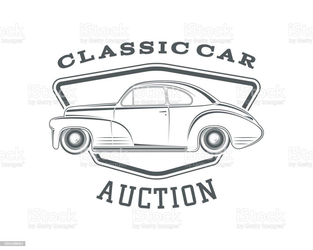 Classic car auction badge template. vector art illustration