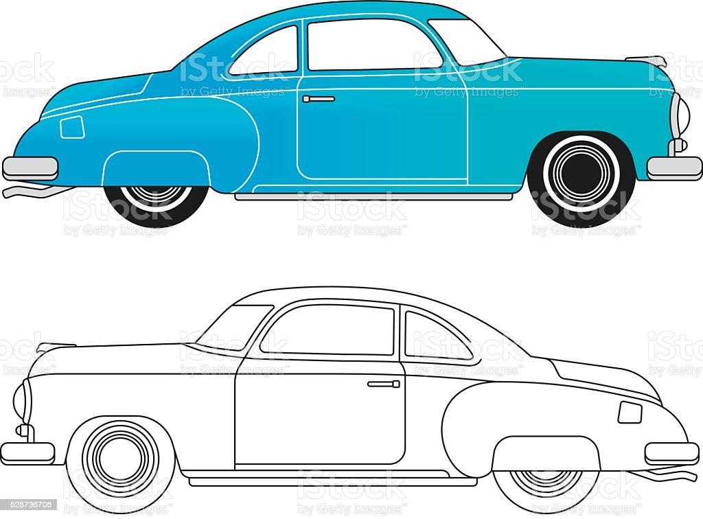 Classic Car Concept vector art illustration