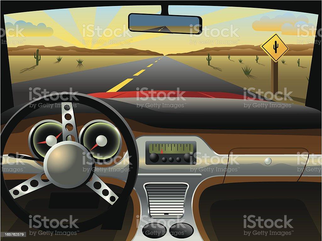 Classic Car Dashboard vector art illustration