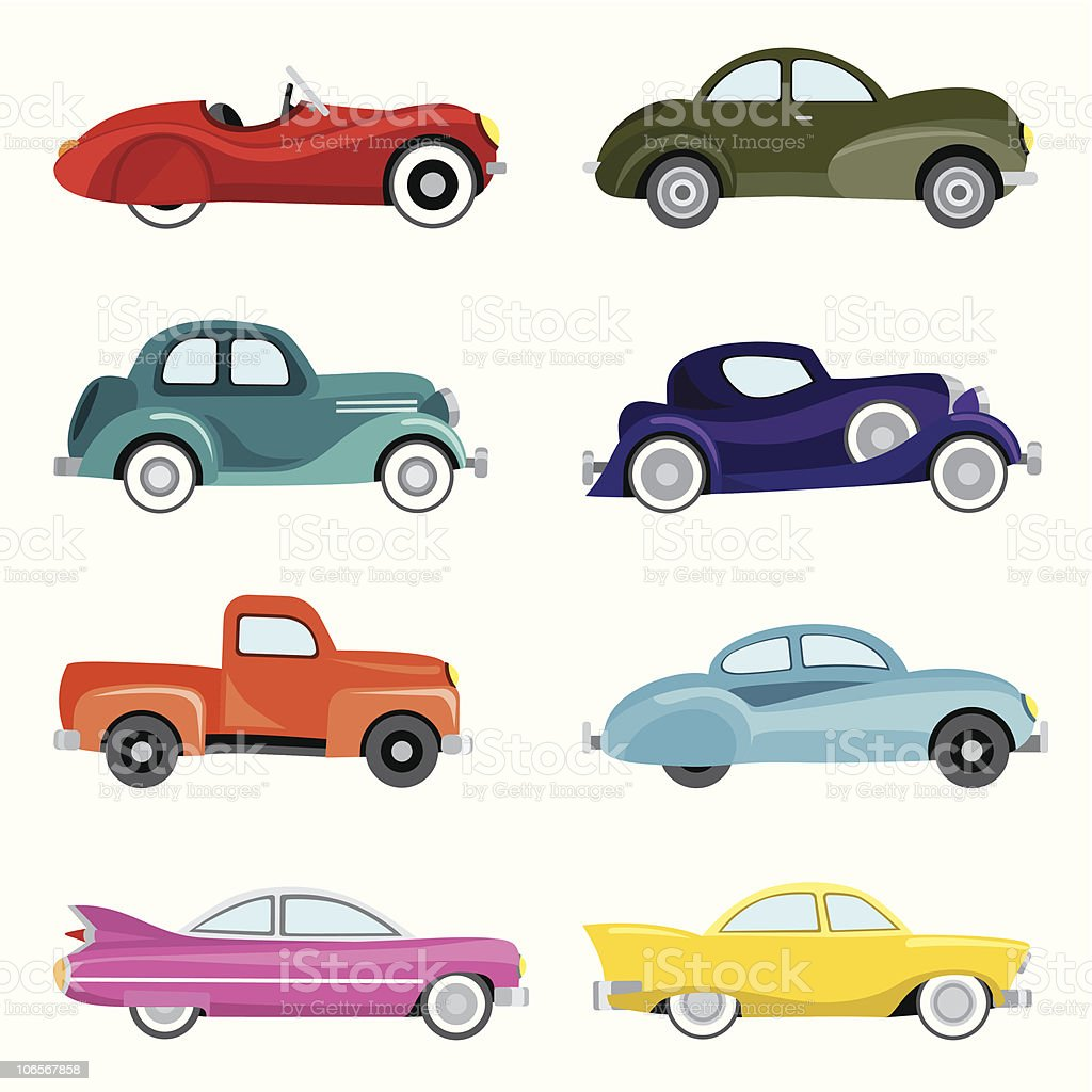 Classic Cars vector art illustration