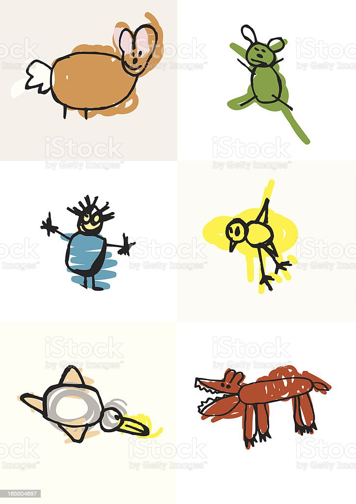 Classic childlike drawings and scribbles. vector art illustration