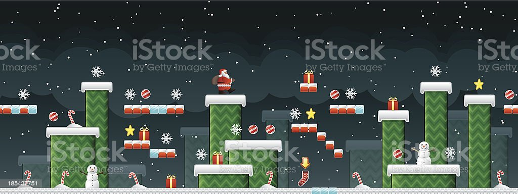 Classic Christmas Arcade game vector art illustration