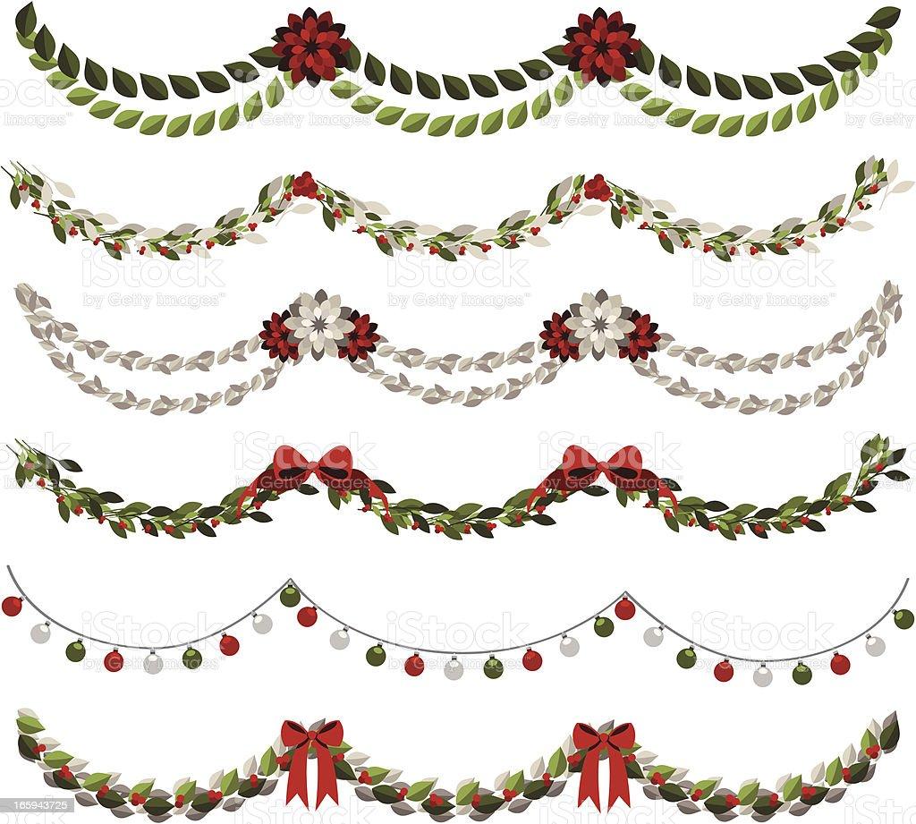 Classic Christmas Garlands vector art illustration