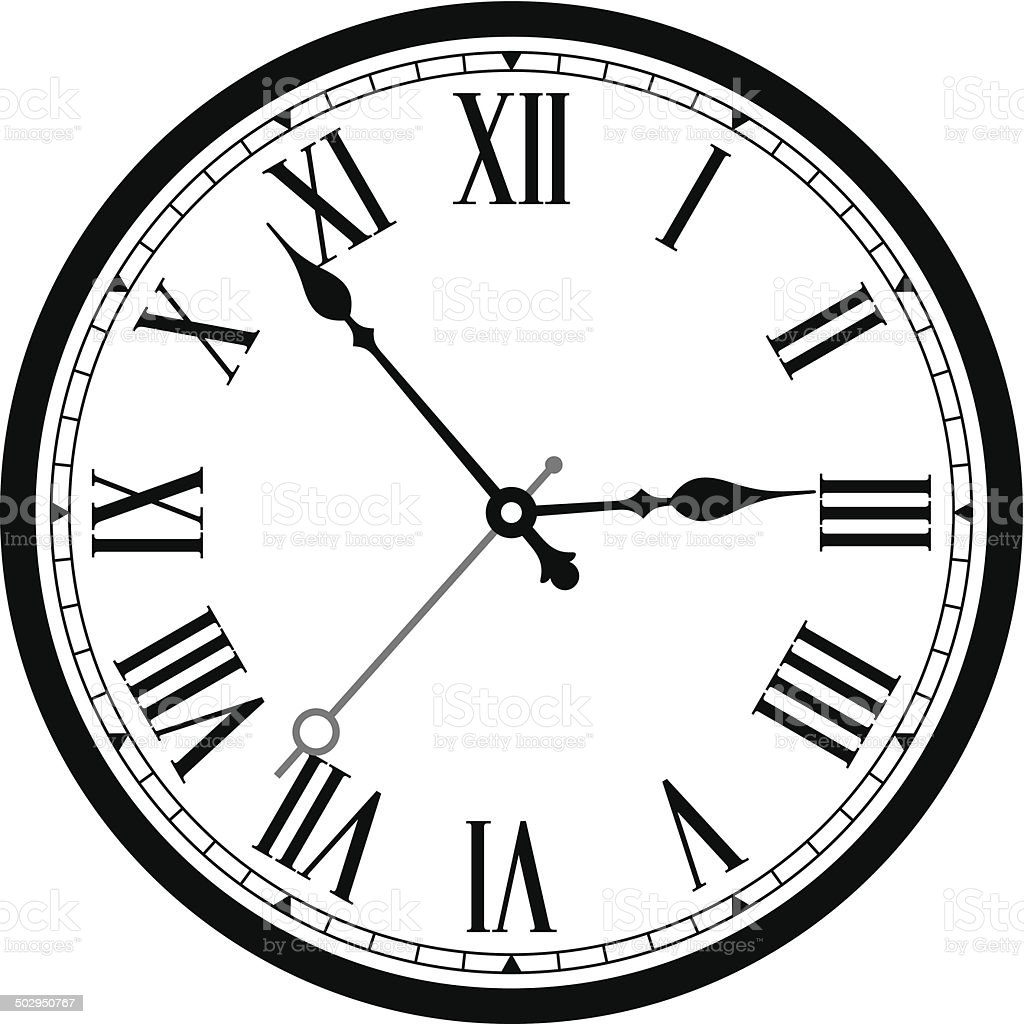 Classic clock vector art illustration