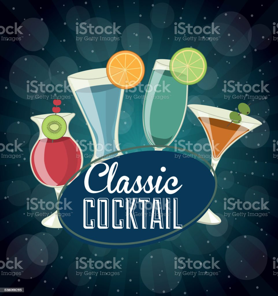 classic cocktail vector art illustration