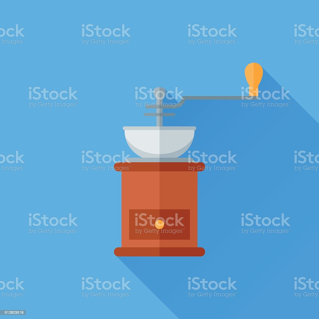 Classic coffee grinder flat icon vector art illustration