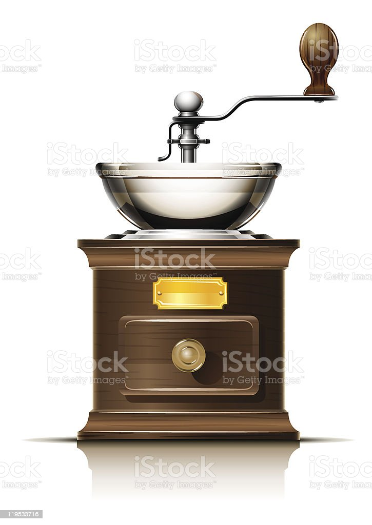 classic coffee grinder in wooden case vector art illustration