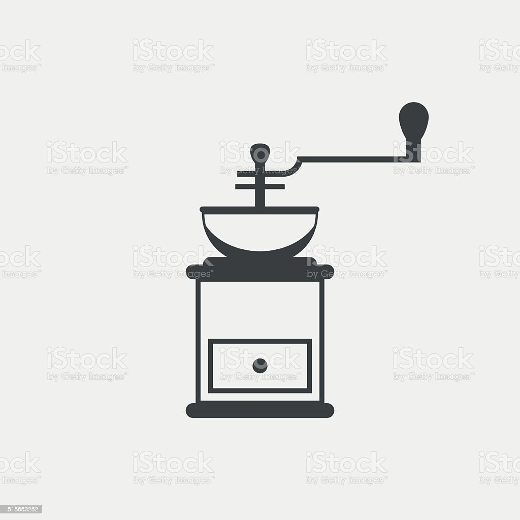 Classic coffee grinder monochrome icon vector art illustration