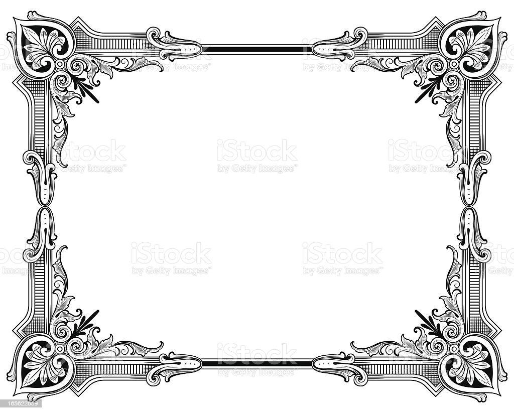 classic corners hand engraved frame royalty free stock vector art
