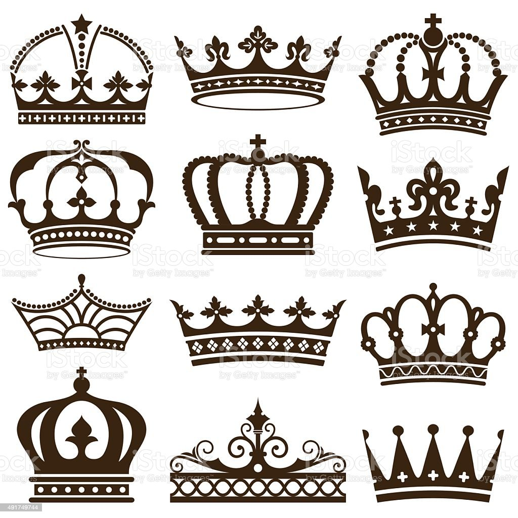 Classic Crowns vector art illustration