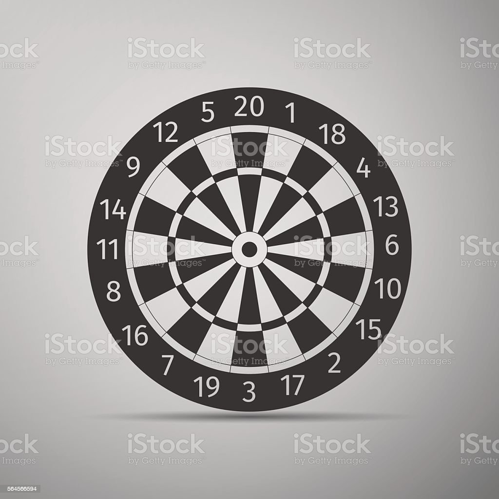 Classic Darts Board with Twenty Black and White Sectors icon. vector art illustration