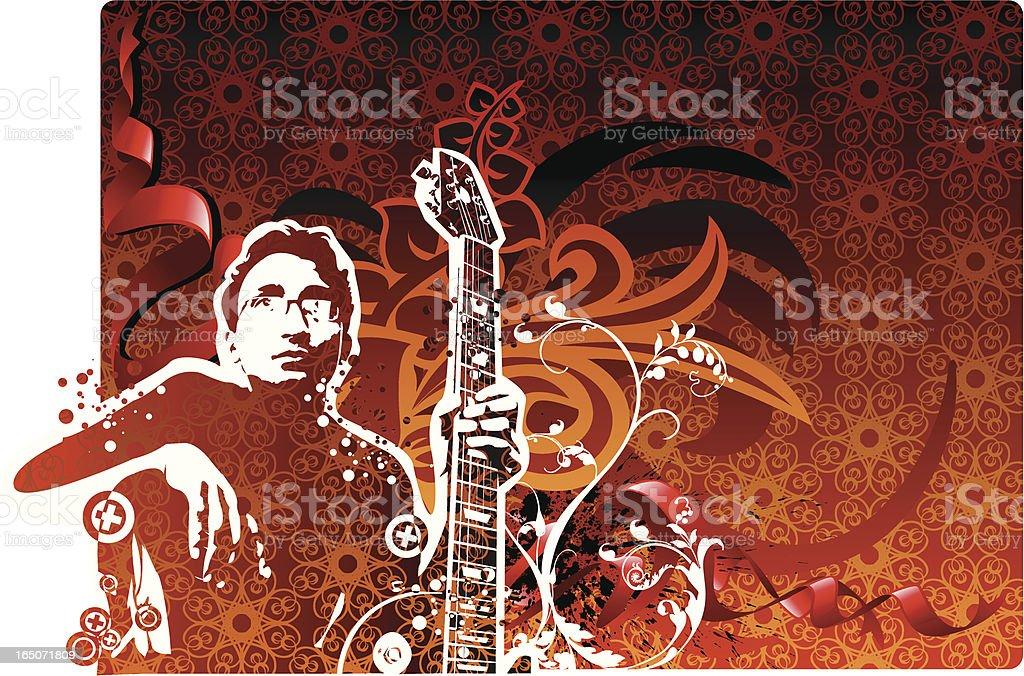 Classic design and guitarist vector art illustration