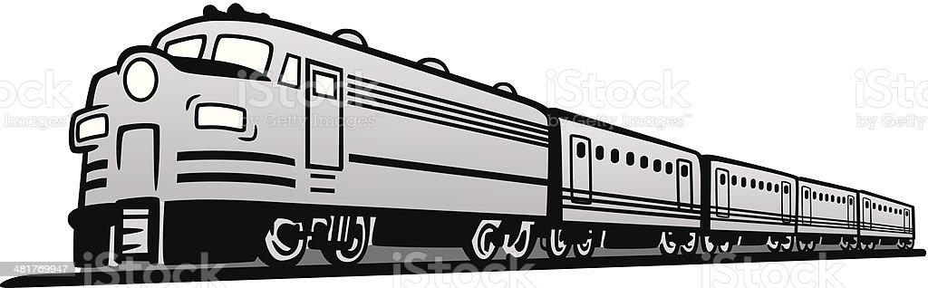 Classic Diesel Train vector art illustration