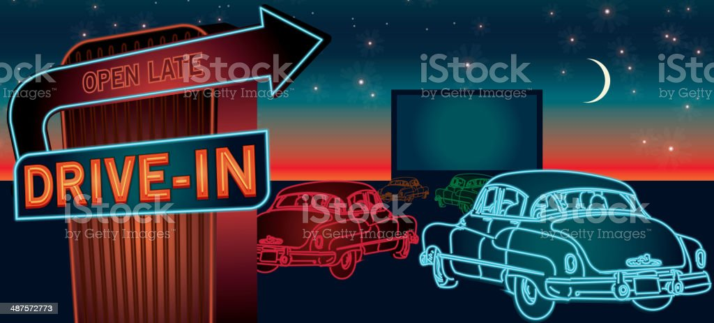 Classic Drive-In Theatre with cars and  neon sign vector art illustration