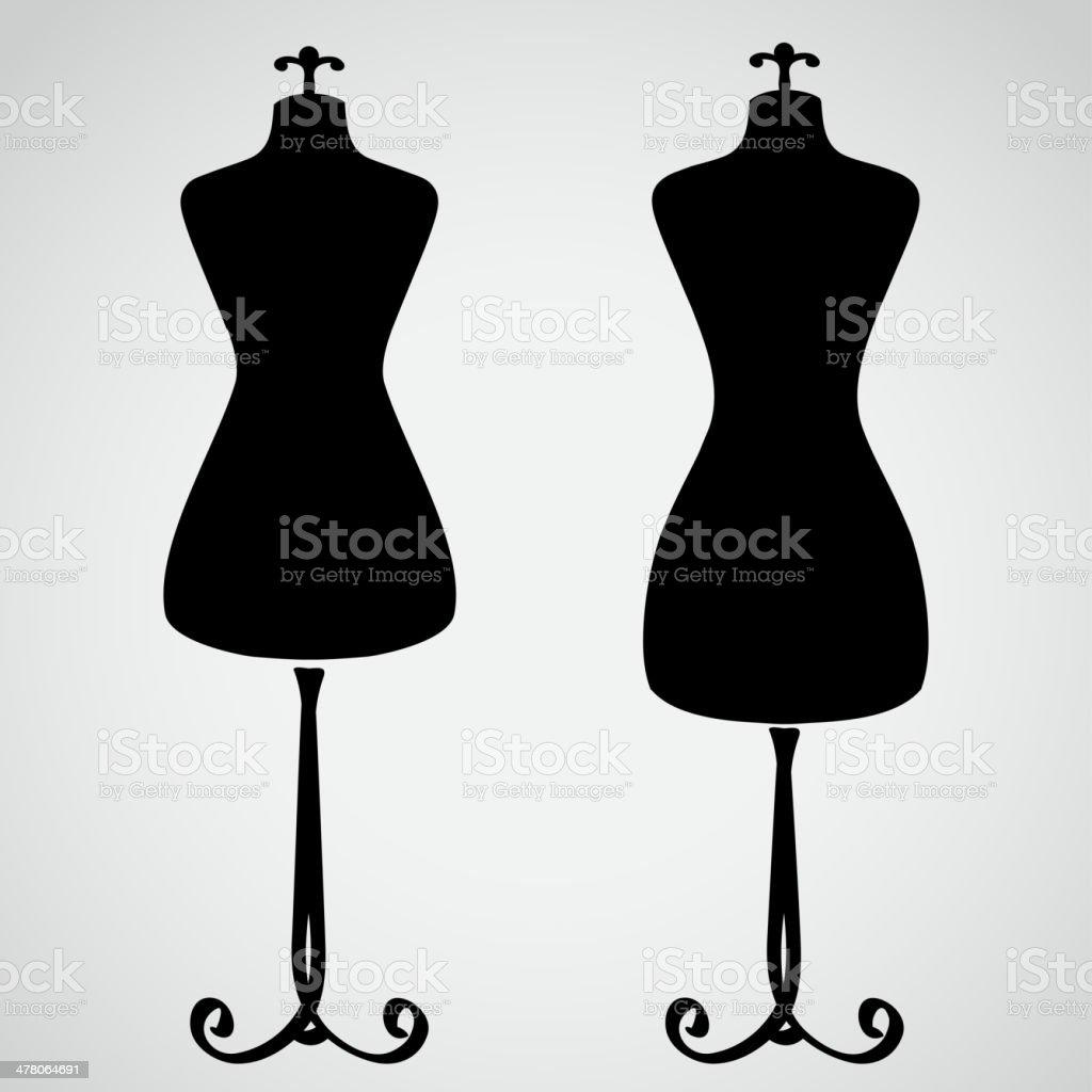 Classic female mannequin silhouette vector art illustration