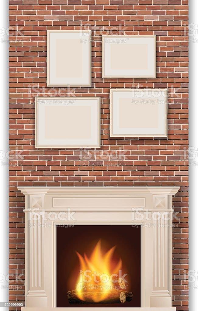 classic fireplace vector art illustration