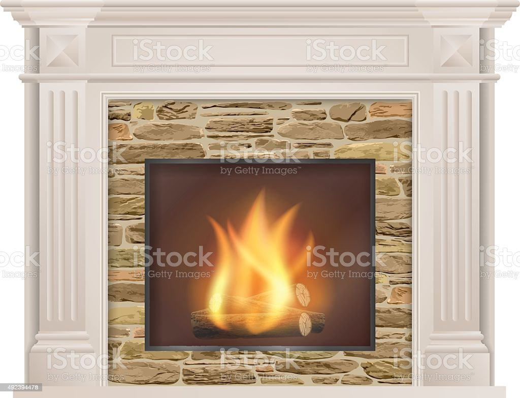 Classic fireplace with natural stone and furnace vector art illustration