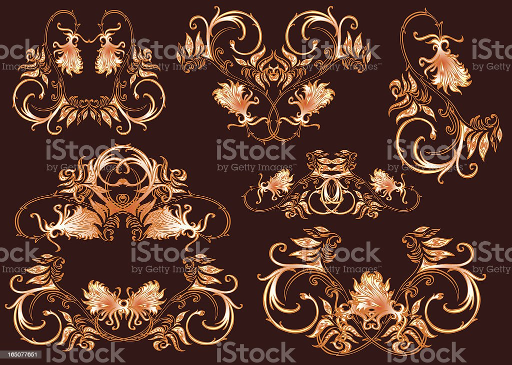 classic flower ornaments royalty-free stock vector art
