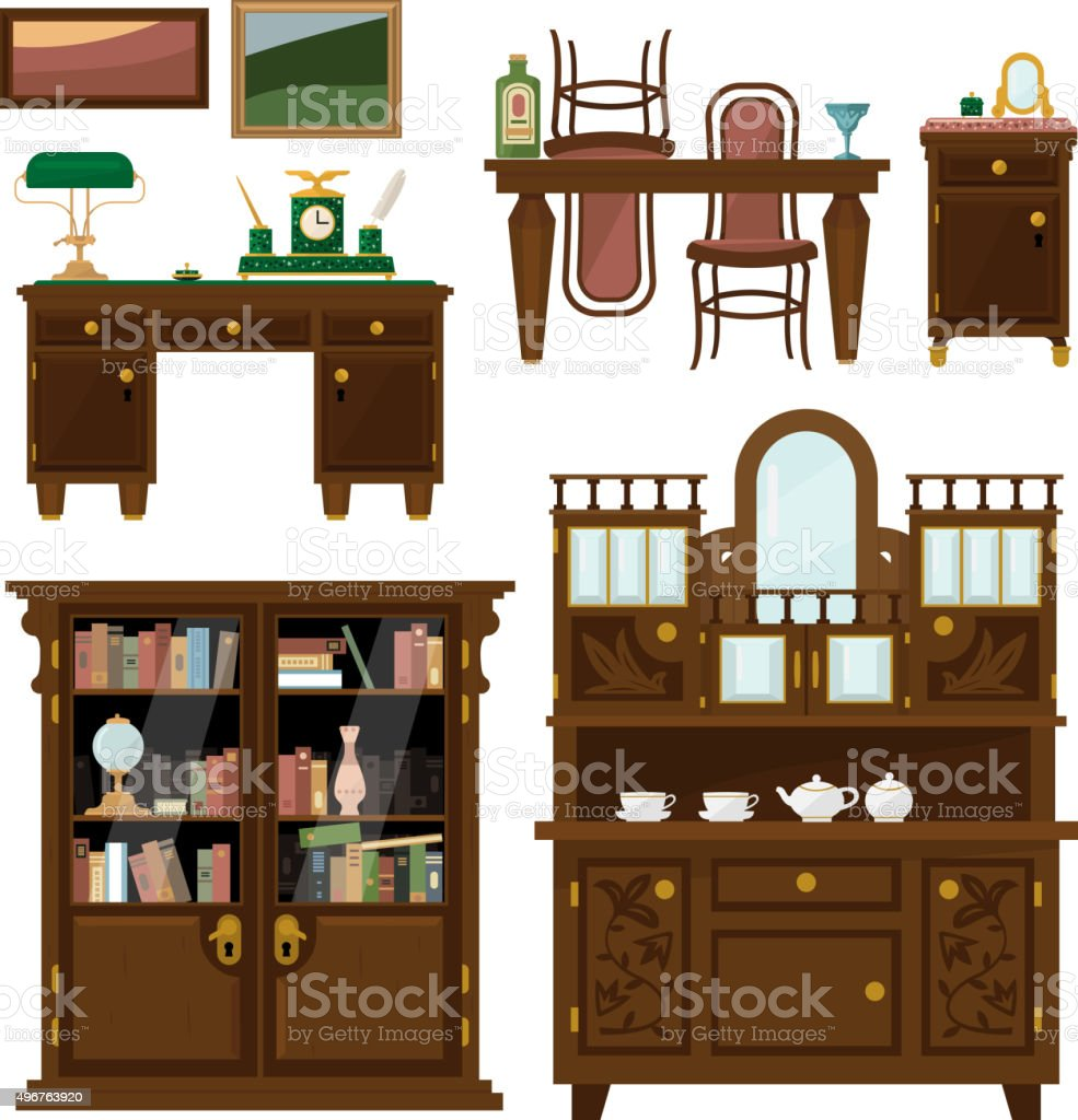 Classic furniture set in flat style vector vector art illustration