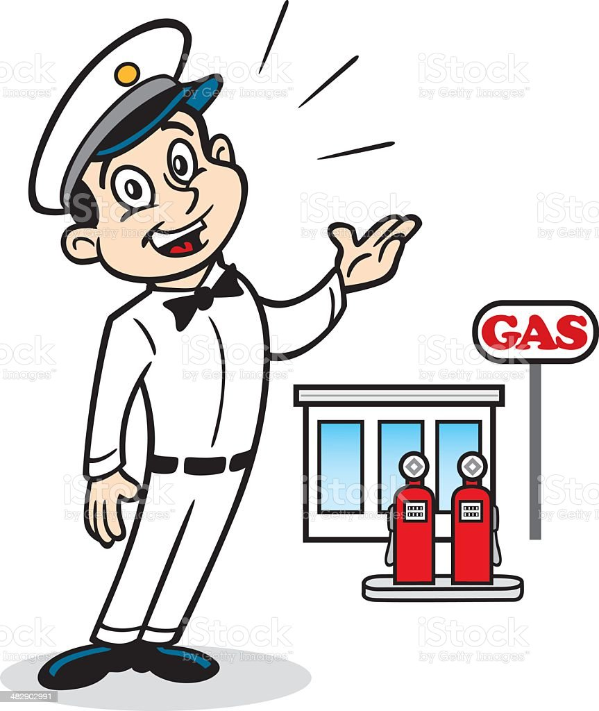 Classic Gas Station Attendant royalty-free stock vector art