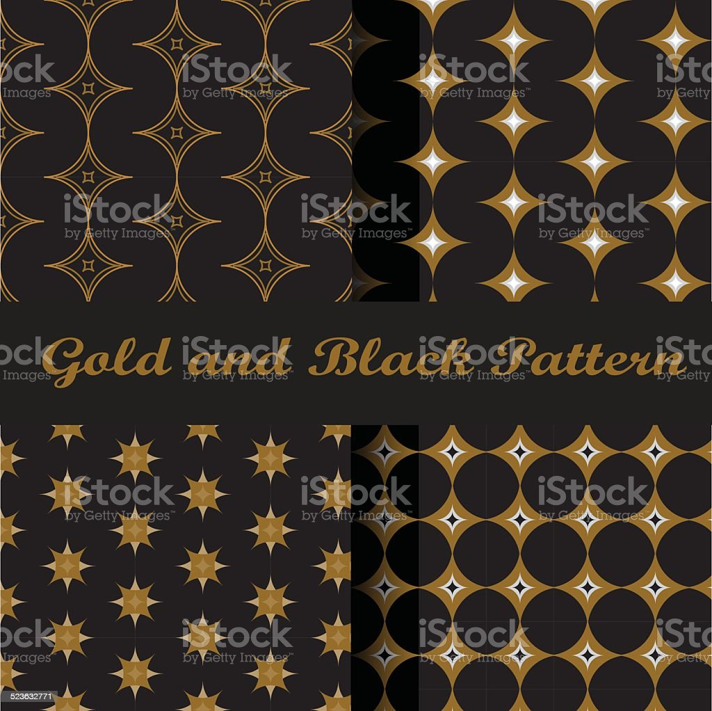 classic gold and black pattern vector art illustration