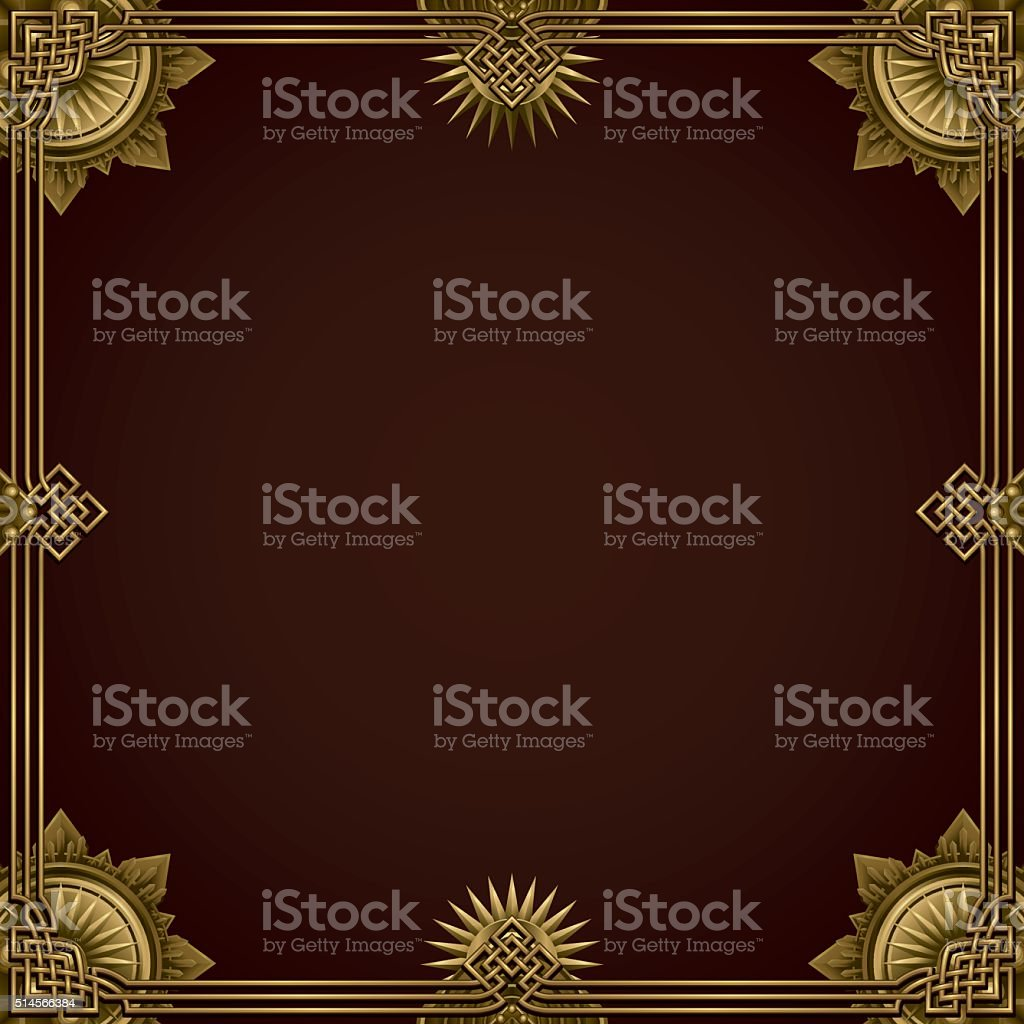 classic gold border background vector art illustration